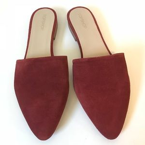 Angelina Red Suede Mules Backless Slides Flats